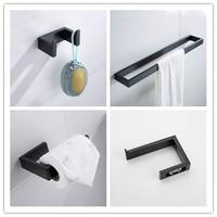 Matte Black Stainless steel Bathroom Hardware Accessory set 3 PCS toilet paper holder Robe hook Towel bar Towel rack