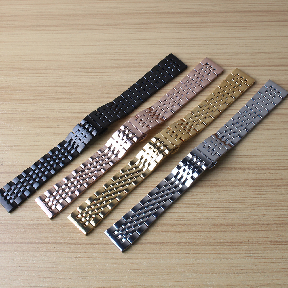 Stainless steel bracelet solid metal watchband 18 19 20 21 mm watch strap wristwatches band silver rose gold color watch belt solid stainless steel bracelet watch strap metal wristwatches band pink gold silver watchband belt butterfly clasp 18mm 20mm22mm