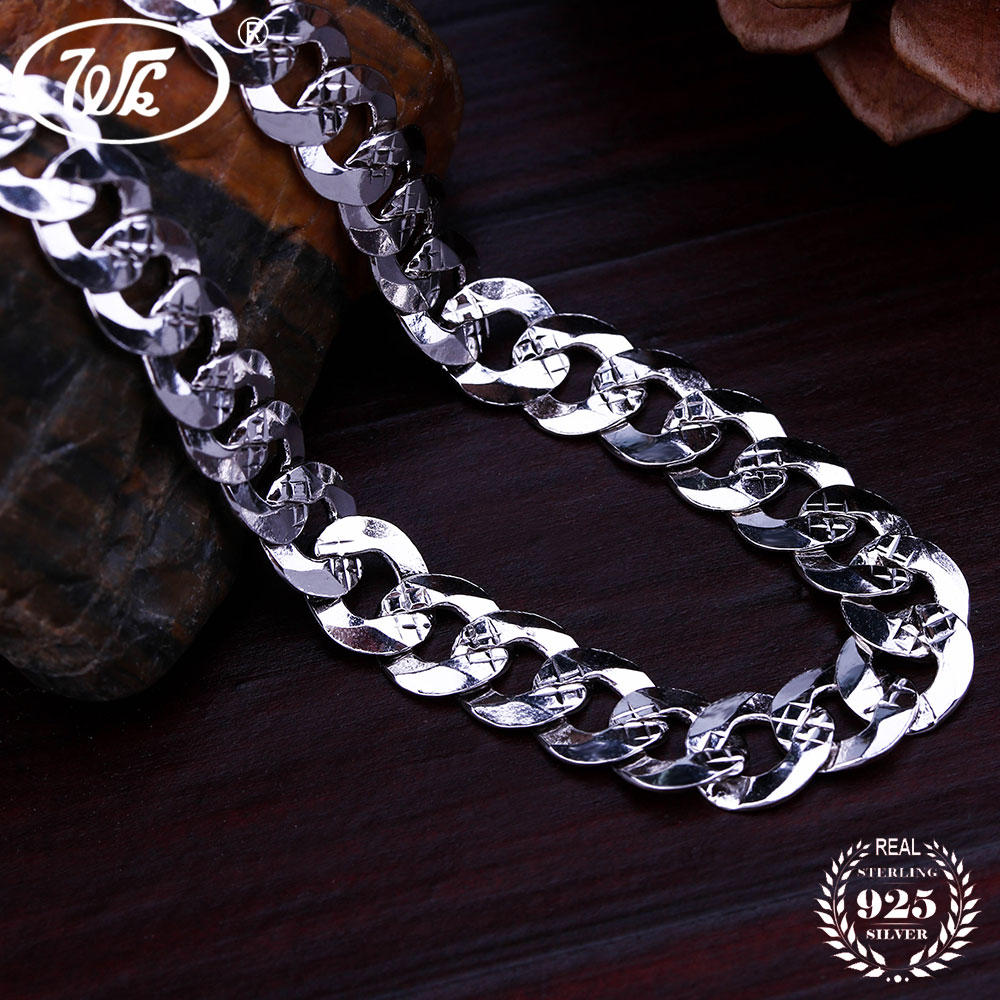 WK Flat 6MM 7MM Genuine 925 Sterling Silver Chain Link - Նուրբ զարդեր - Լուսանկար 3