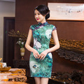 TIC-TEC chinese short cheongsam Lotus qipao print slim vintage elegant oriental women tradicional party weeding cloth P2844