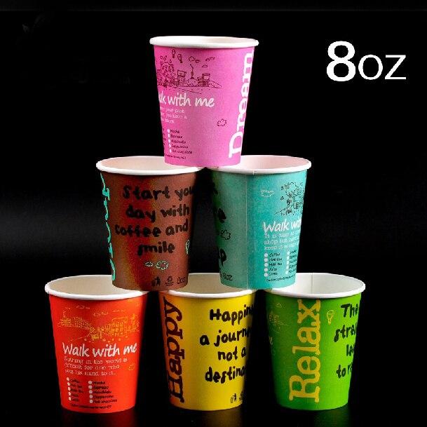 8OZ Mixed Colors Disposable Paper Coffee Cups Color Tea Cup Holder Party Supplies 100pcs/lot CK147