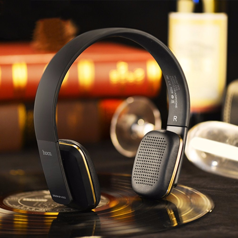 HOCO Compact Wireles Bluetooth Stereo Music Headset Over Ear Headphone Headband Earphone Noise Isolating Black compact