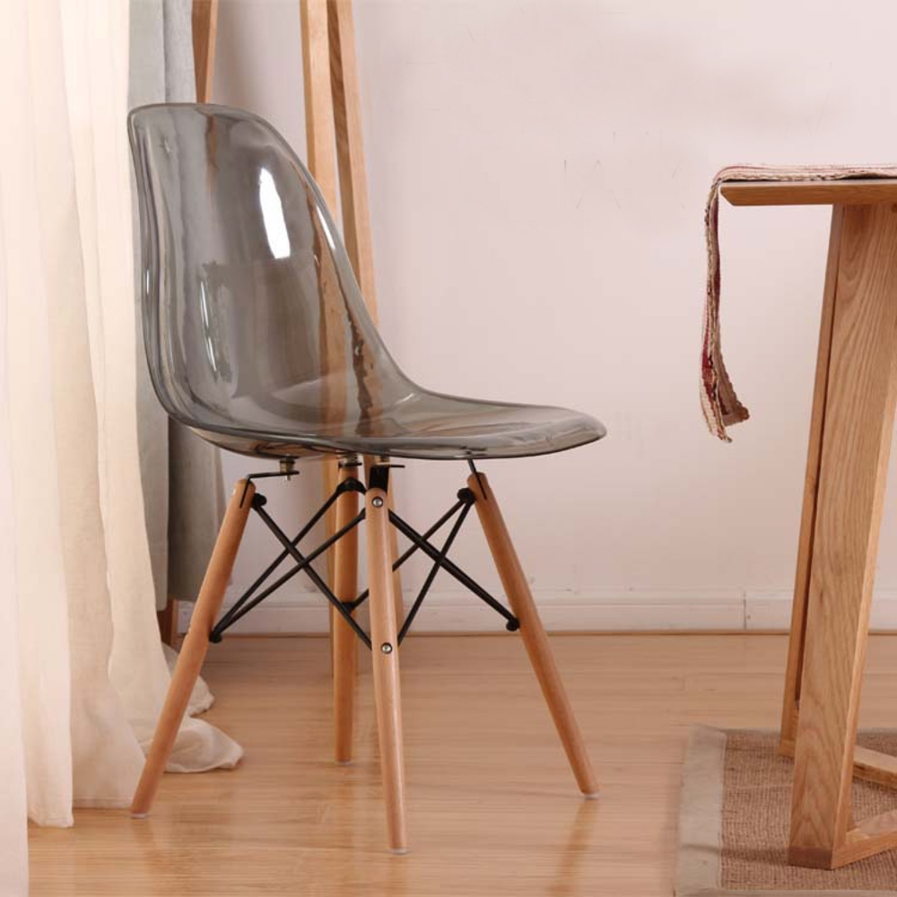 Transparent Acrylic Modern Dining Side Smoke Chair With Wood Legs/ Plastic Classic Chair/fashion Dining Chair/Modern furniture