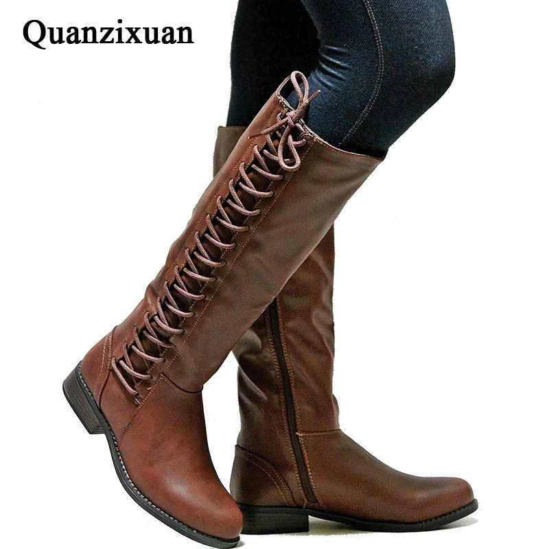 Women Winter Snow Boots Ladies Shoes Autumn Winter Warm Riding Boots Lace Up Flat Square Motorcycle Leather Boots
