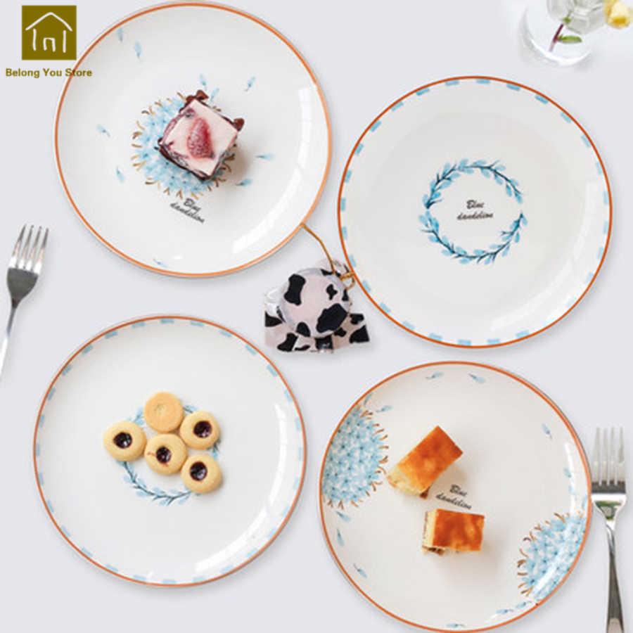Criativo Porcelana Pratos de Cerâmica Prato Bife Prato de Sobremesa Pratos Decorativos Feitos À Mão Plana Porcellana Tigela Pratos de Comida WKG028