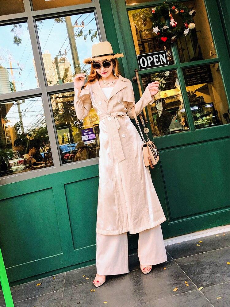 vent 2019 Soie Section Britannique Femelle Col Printemps Nouvelle Longue Vent Couture Tailleur Veste Populaire Lumineux Coupe dCxBoe