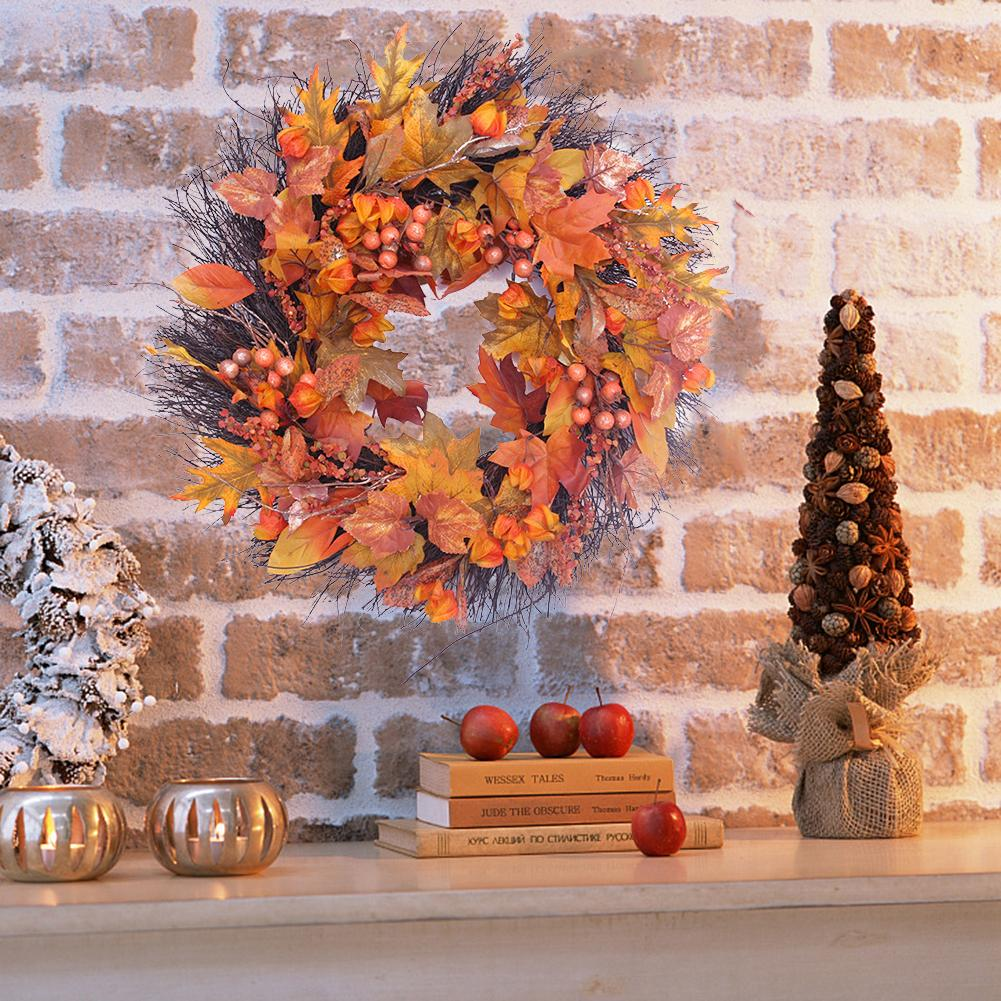 Autumn Maple Leaf Berry Wreath Thanksgiving Halloween Door Home Decor(China)