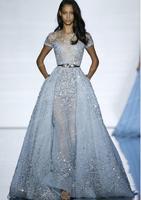 Fashion Celebrity Dresses Cap Sleeve Blue Illusion Dress Beaded Sashes Celebrity Dresses Sexy Pageant Dresses
