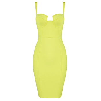 9 Colors Ladies Sexy Blue Yellow Black Rayon Women Summer Bandage Dress 2020 Celebrity Designer Fashion Party Dress Vestido 3