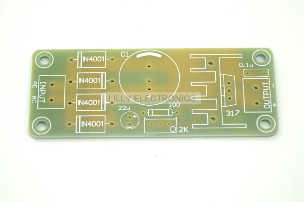 10pcs LM317 Voltage Regulator Adjustable Power Supply Bare Board (PCB) With AC-DC Rectifier Input