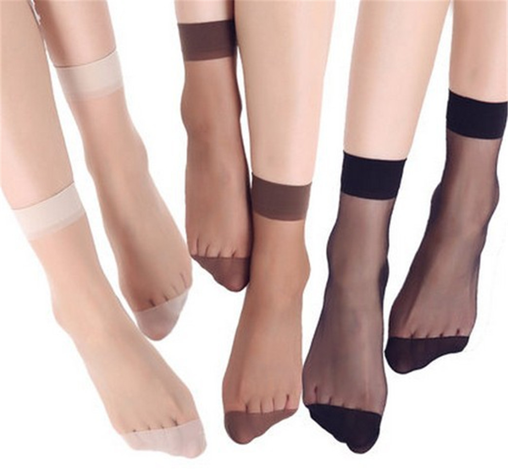 20pcs=10 Pairs Summer Bamboo Female Short Socks Women's Socks Thin Crystal Transparent Silk Socks Girl Ankle Sox
