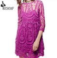 2016 New Boho Vintage Women Half Sleeve Dress Sexy  Sheer Floral Lace Crochet Dress Vestido de Renda Female Elegant Dresses