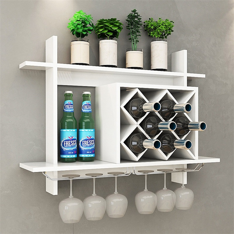 Wall Mount Wine Rack Glass Holder Storage Shelf Multifunctional Storage MDF Stainless Steel Wine Rack HW57399