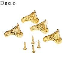 DRELD 4Pcs 29x17mm Gold Jewelry Wood Box Feet Leg Corner Protector Guard Metal Crafts Decorative Bracket For Furniture Hardware