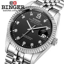 Швейцария Наручные Часы БИНГЕР 18 К золотые часы мужчины самостоятельно ветер автоматические механические Наручные Часы BG-0373-3
