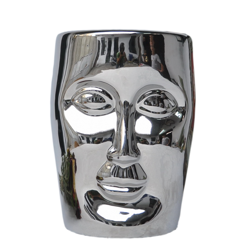 цена Bonze Stool Silver Ceramic Human Face Stool Living Room Decoration Leisure Chair Stool