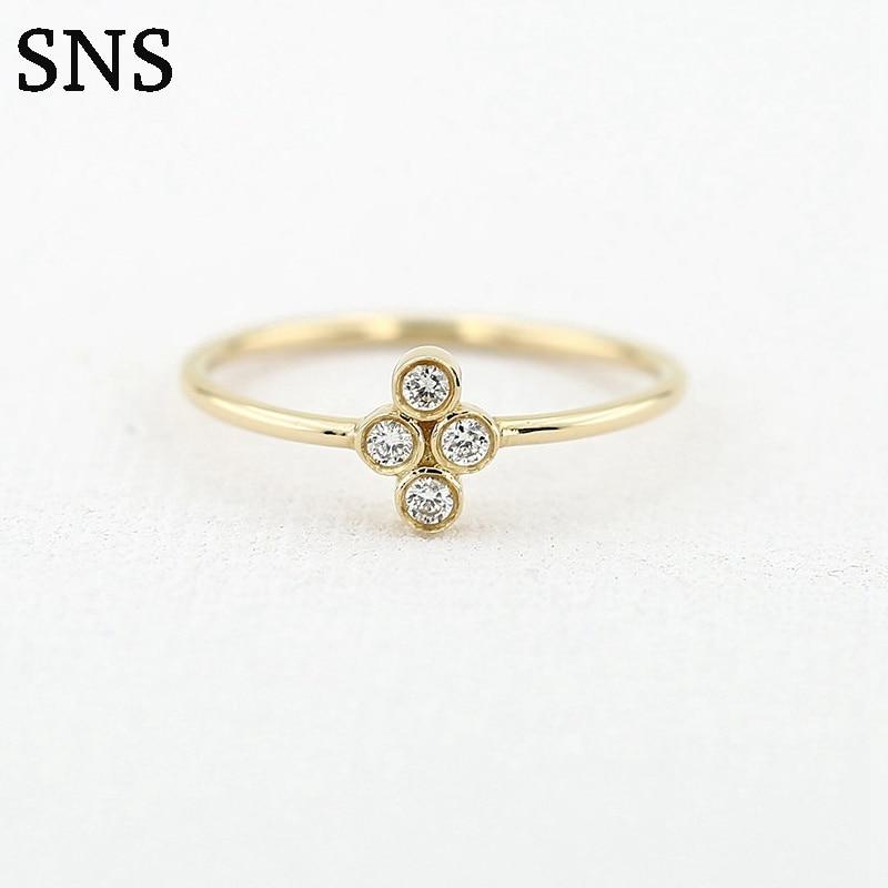 Quatre pierres serties bague en diamant véritable bijoux en or 14 k 0.12ct bagues en diamant naturel de forme ronde pour femmes