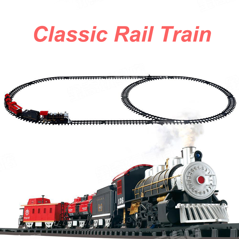 Rail Car With Tracks Classic Toys Enlighten Train Battery Operated Railway Car Electric Train Set with Sound&Smok Car Toy Gifts