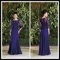 Элегантный мать Невесты Кружевные Платья Royal Blue Половина Рукава Шифон Длинные Свадьбы Платья Floo Длина Платье Крестная