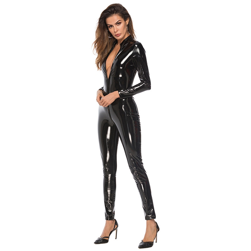 Sexy Lingerie Hot Women Faux Leather Catsuit PVC Latex Bodysuit Front Zipper Open Crotch Stretch bodystocking Erotic costumes