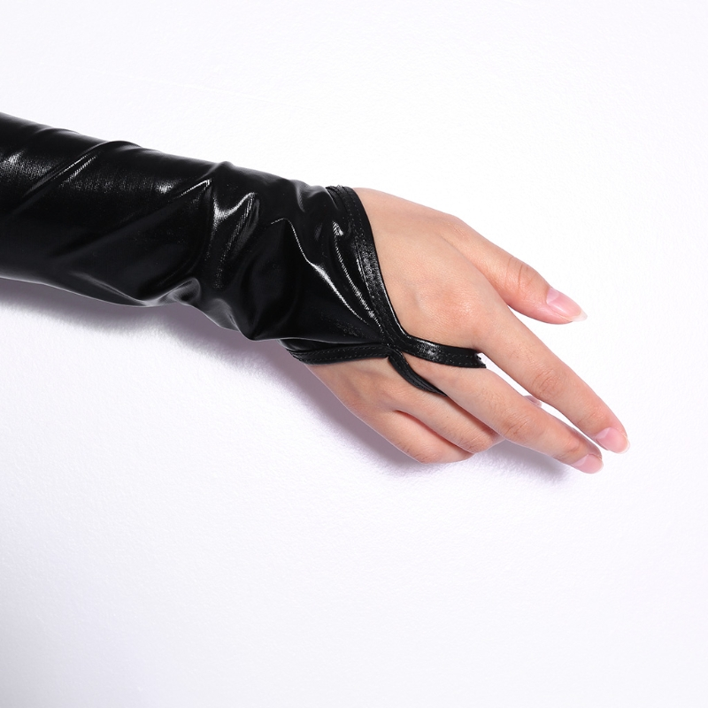 2020 Lady Women Wet Look Sexy Black Fingerless Arm Length Gloves Elastic Shiny Mid-Upper New Solid Fashion