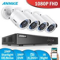 Comprar Sistema de cámara de seguridad ANNKE 1080P HD 4 canales DVR Kit 1080P HDMI CCTV sistema con 4 Uds 2MP cámara de vigilancia al aire libre