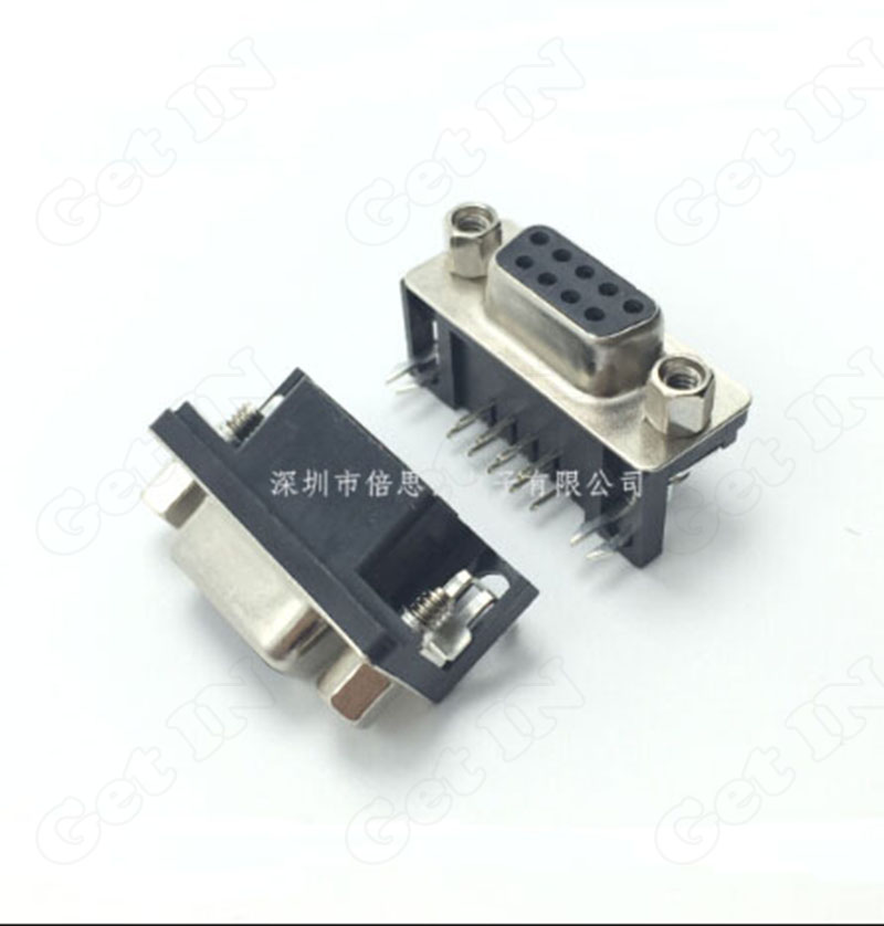 100pcs Dual Rows VGA Ports 9Pins DB9 Serial Port 90Degree with Screw Female Connectors