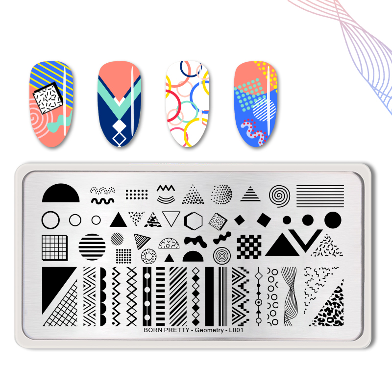 Geometric Reverse Stamping Nail Art Born Pretty Review: BORN PRETTY Geometry Pattern Nail Stamping Plates