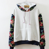New Retro Flowers Spell Color Long Sleeve Hooded Sweatshirt Women Hoodies Fashion Casual Female Tracksuits S XL Wholesale