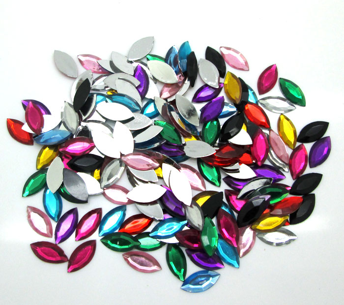 500Pcs 10x14mm Mixed Horse Eye Acrylic Beads Craft Cabochon Scrapbook Decoration Flatback Nail Art Garment Beads DIY