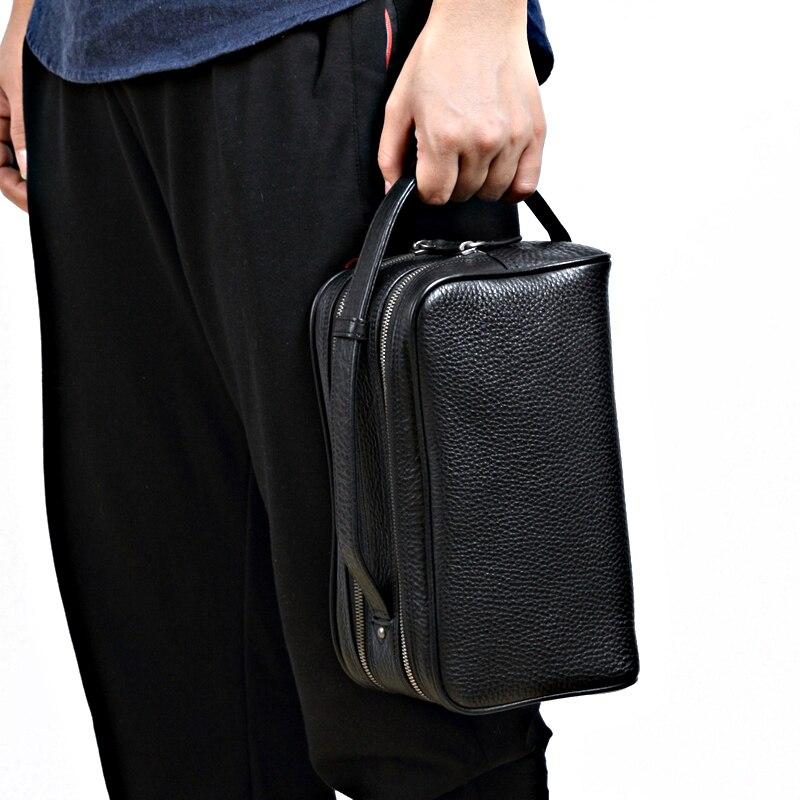 Herrlich Woonam High-end Luxus Qualität Spitzenkorn Echtem Kalbsleder Doppel Zip Männer Tag Handtasche Oder Frauen Kulturbeutel Tasche Bg1001