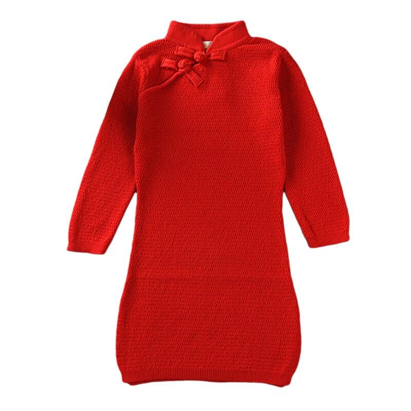 Girls Autumn Winter Dress Knitted Kids Cheongsam Dress Three Quarter Sleeve Turtleneck Cotton Vestido Red Yellow For 18M-5Y GD34 turtleneck rib knit dress