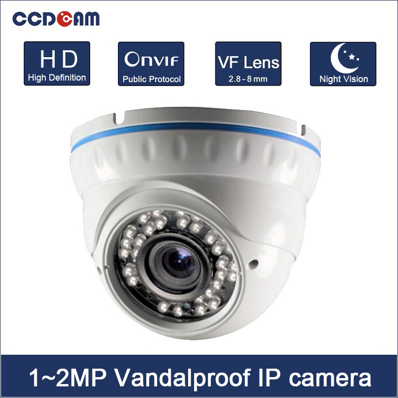 CCDCAM Cheap HD 1MP 960P 2MP IP P2P IR Night Vision Onvif Plastic Dome Camera Outdoor Free Shipping free shipping hot selling 720p 20m ir range plastic ir dome hd ahd camera wholesale and retail