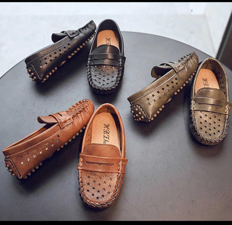 Çocuk Slip-on deri ayakkabı Erkek Kız hafif Yumuşak Taban Vintage Espadrilles Çocuklar Bahar Sonbahar günlük mokasen ayakkabı Moccasins