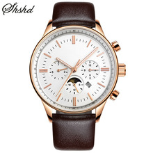 Luxury Men Watch Black Watches For Men Gold Analog Dual Display Wristwatches Leather Band Luminous Stainless Steel Montre Homme
