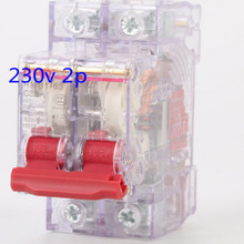 Mini transparent 230v DZ47-2P 1P 10a-63a circuit breaker overload protector free shipping