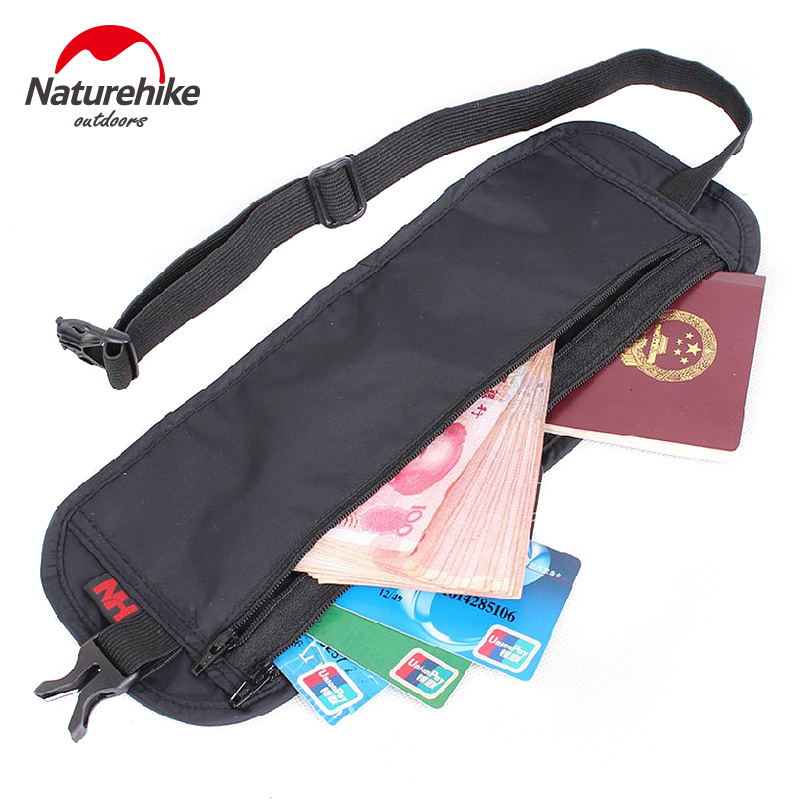NatureHike 295*110mm Nylon Ultra-Slim Travel Outdoor Sport Anti-Theft License BagPacks Black Grey Hiking Running NH15Y005-B