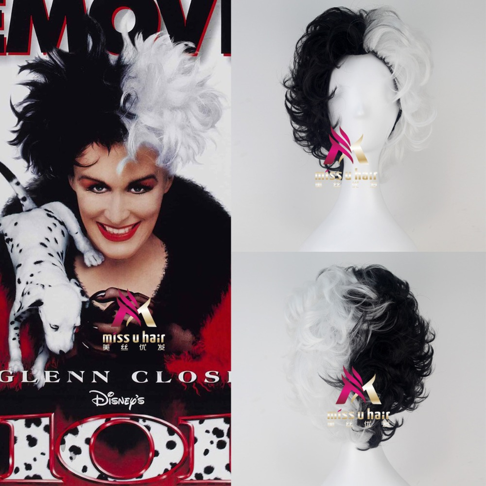 New Black And White Fluffy Short Layered Synthetic Wigs 101 Dalmatians Cruella Devil Cosplay Costume Wig