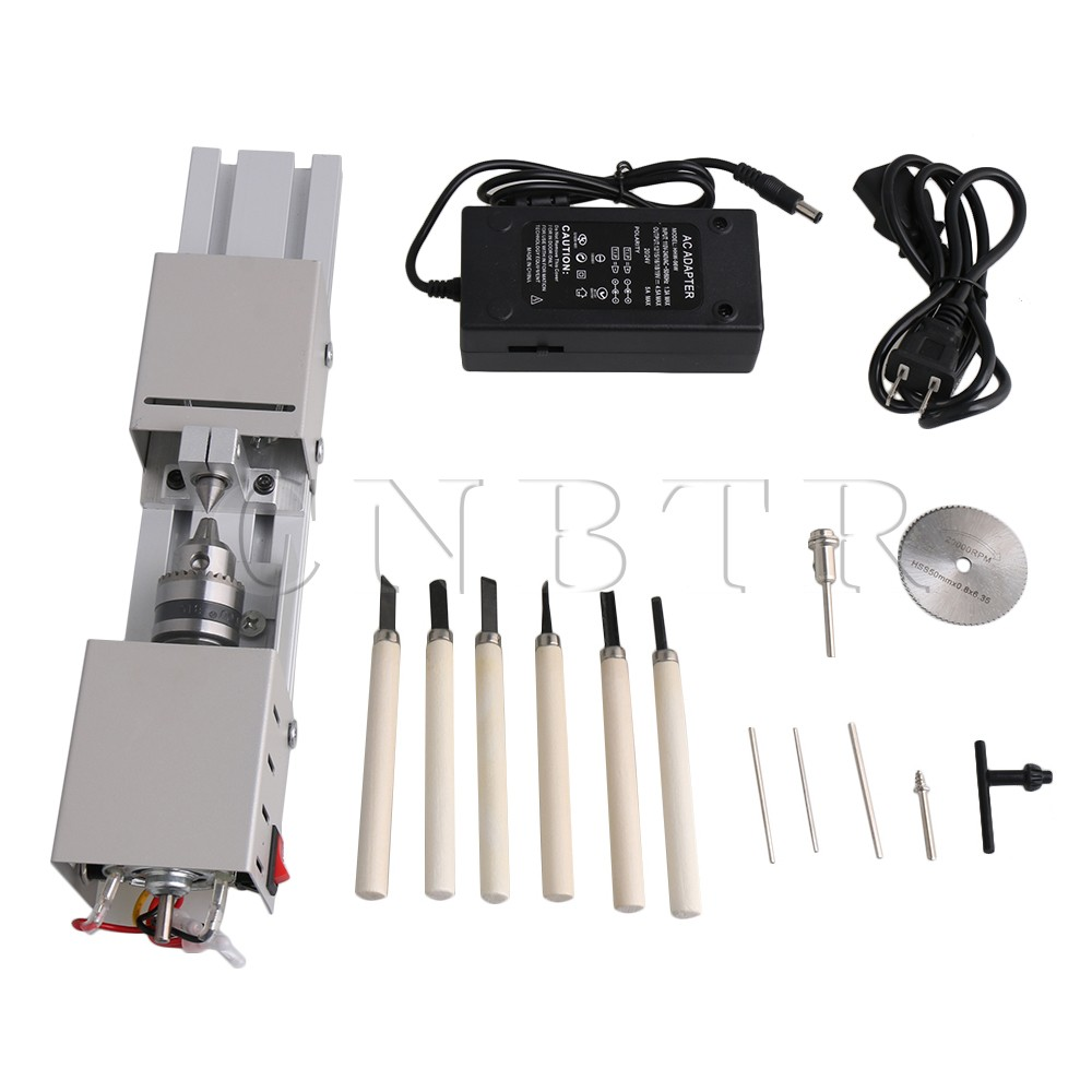 CNBTR DC12-24V Metal Silver Mini Beads Lathe Machine Woodworking Cutting Processing Tool Set With High Speed Steel Saw Blade wlxy wl 7205 high speed steel saw blade set silver
