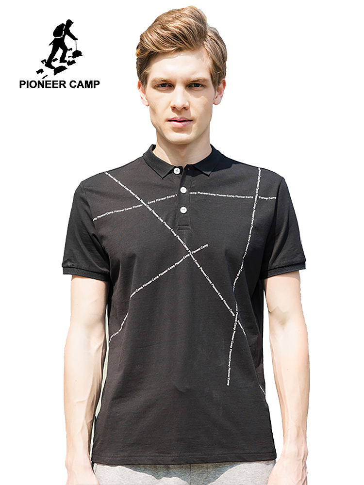 Pioneer Camp New fashion black   polo   shirts men brand clothing short sleeve   Polo   male quality stretch casual   Polo   ADP705057