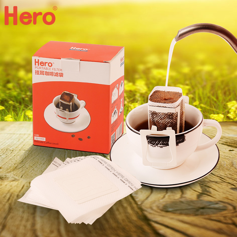 Hero Hand Drip Coffee Hanging Ear Filter Paper Pour Over Coffee Travel Bag 50pcs