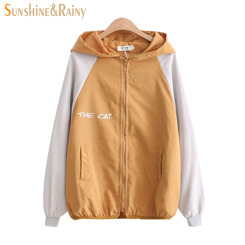 2018 Spring New Loose Stitching Hooded Long Sleeved Jacket Coat Female Student All match Cartoon Cat Printing Girl Zipper Coat