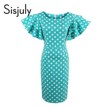 Sisjuly Polka Dot Petal Sleeve Vintage Dress Bodycon Women Zipper Sheath Pin Up Female Blue Round