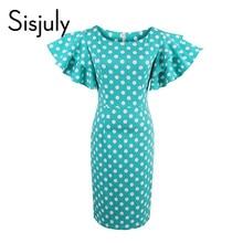 Здесь можно купить  Sisjuly women bodycon dress 2017 petal sleeve cute blue dress female sheath pin up dot dress ruffle sleeve green bodycon dresses