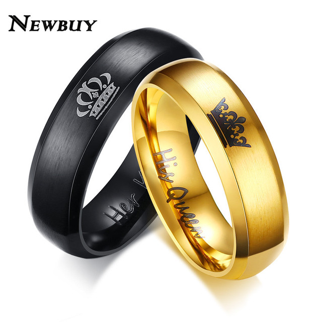 NEWBUY 2019 Fashion Her King And His Queen Crown Ring For Women Men Black/Gold C