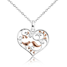 DORMITH 925 sterling silver necklace plain Bird with Tree in Heart pendant necklace silk matt pink gold plated for women jewelry