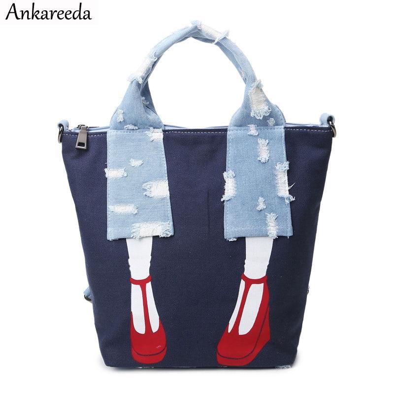 Ankareeda Canvas Multifunction Back Packs for Teenage Girls Luxury Denim Women Laptop Back pack School Bags