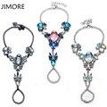 [JIMORE] Vintage Punk Bracelet Retro Rock Colorful Waterdrop Crystal Bracelet Anklets For Women Jewelry Chain & Link Bracelet