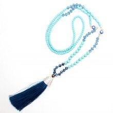 Nuevo diseño de la turquesa de Turquía blue eyes colgante hecho a mano borla colgante largo collar de boho estilo anudado collar joyería de las mujeres