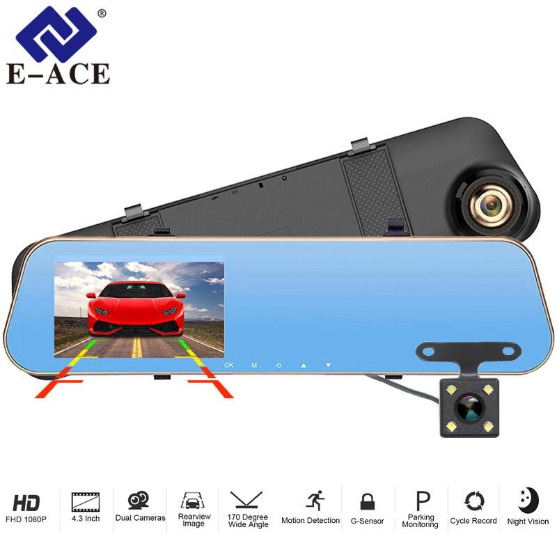 E-ACE dvr de voiture Dash Caméra enregistreur vidéo rétroviseur FHD 1080 P Dashcam Double Lentille Avec Vue Arrière Caméra Auto Registrator